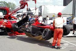 La voiture accidentée de Jesse Mason