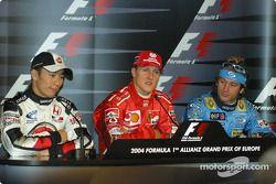 Saturday basın toplantısı: Pole: Kazanan Michael Schumacher ve Takuma Sato ve Jarno Trulli
