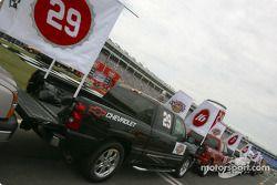 Les trucks de la parade des pilotes