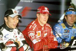 basın toplantısı: Pole: Kazanan Michael Schumacher ve Takuma Sato ve Jarno Trulli