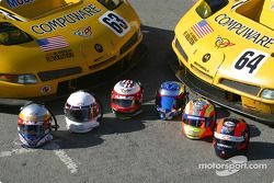 Team photo: Corvette Racing drivers helmets