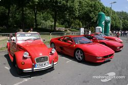 Red cars on display