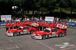 Photo d'équipe : le Barron Connor Racing et les pilotes Mike Hezemans, Jean Denis Deletraz, Ange Barde, John Bosch, Thomas Biagi, Danny Sullivan