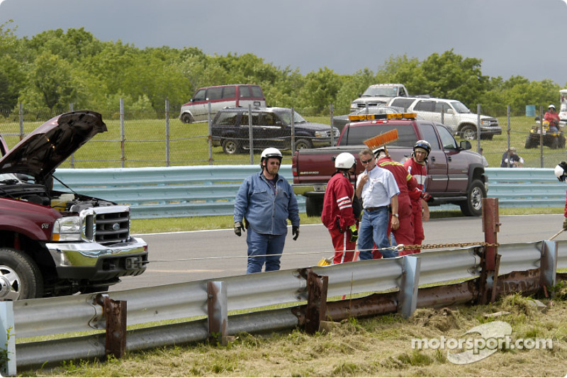Rail damage in the NASCAR event