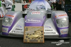 The #88 Audi Sport UK Team Veloqx Audi R8 pole winning car on pre-grid