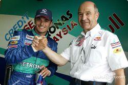 Giancarlo Fisichella and Peter Sauber celebrate point finish