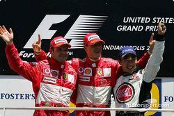 Podium: Sieger Michael Schumacher, 2. Rubens Barrichello, 3. Takuma Sato