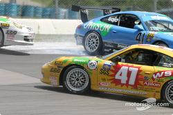 #47 Michael Baughman Racing Porsche GT3 Cup: Bob Ward, Michael Baughman, and #41 Orison-Planet Earth Motorsports Porsche GT3 Cup: Joe Nonnamaker, Will Nonnamaker, Wayne Nonnamaker spin