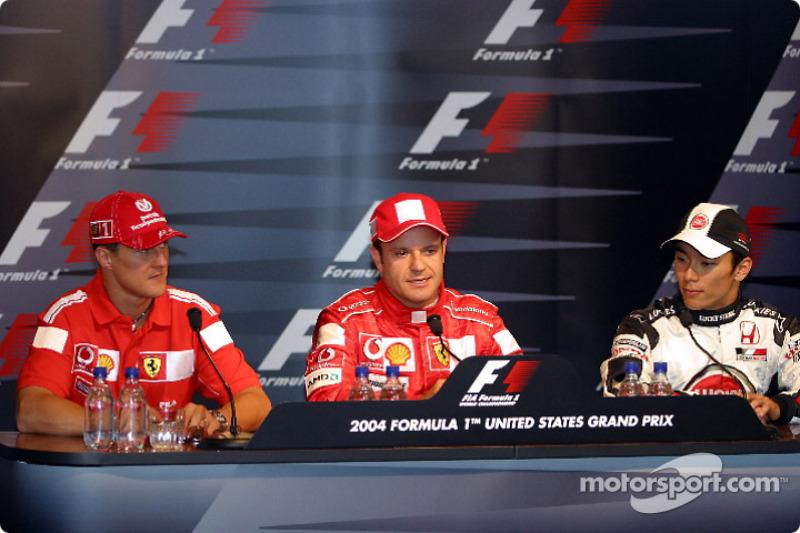Saturday basın toplantısı: Pole: Kazanan Rubens Barrichello ve Michael Schumacher ve Takuma Sato