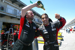 Zsolt Baumgartner celebrates 8th place finish with Paul Stoddart