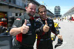 Zsolt Baumgartner celebrates 8th place finish with Paul Stoddart