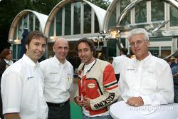 Heinz-Harald Frentzen, Opel motorsport director Volker Strycek, actor Dieter Landuris, Dr. Uhland Bu