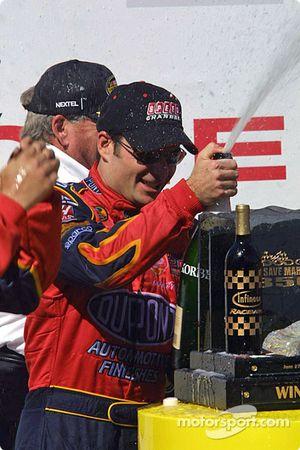 Victory circle: champagne for race winner Jeff Gordon