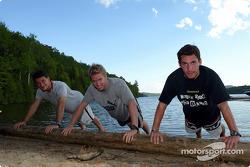 Jordan drivers training and relaxation, Hotel Sacacomie, Lake Sacacomie, Québec, Canada: Giorgio Pantano, Nick Heidfeld and Timo Glock
