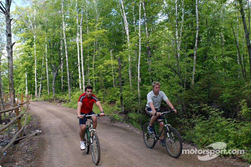 Jordan drivers training and relaxation, Hotel Sacacomie, Lake Sacacomie, Québec, Canada: Nick Heidfeld and Timo Glock