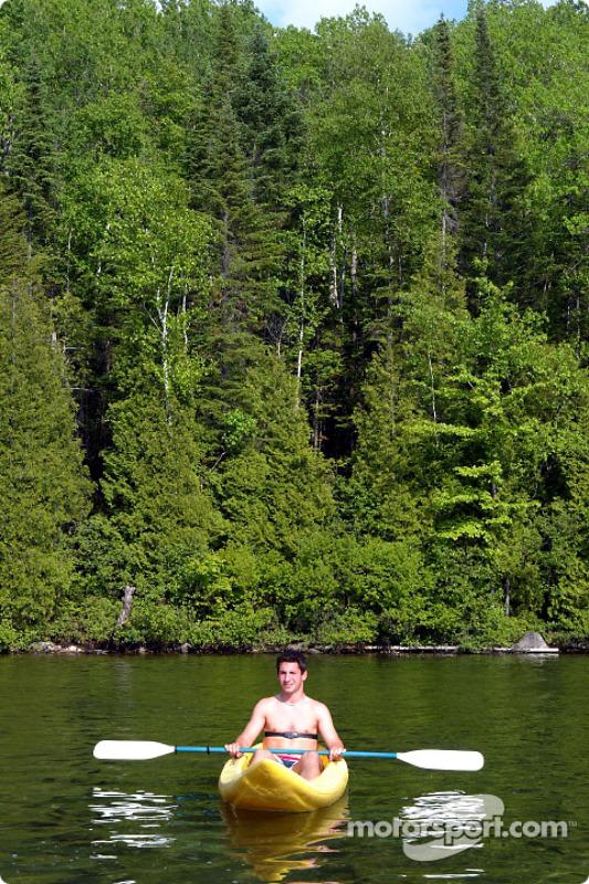 Jordan drivers training and relaxation, Hotel Sacacomie, Lake Sacacomie, Québec, Canada: Timo Glock