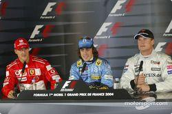 Polesitter Fernando Alonso, Renault; 2. Michael Schumacher, Ferrari; 3. David Coulthard, McLaren