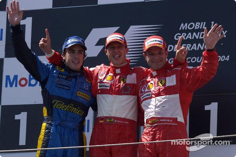 Mit Schumacher und Alonso auf dem Podest: Rubens Barrichello