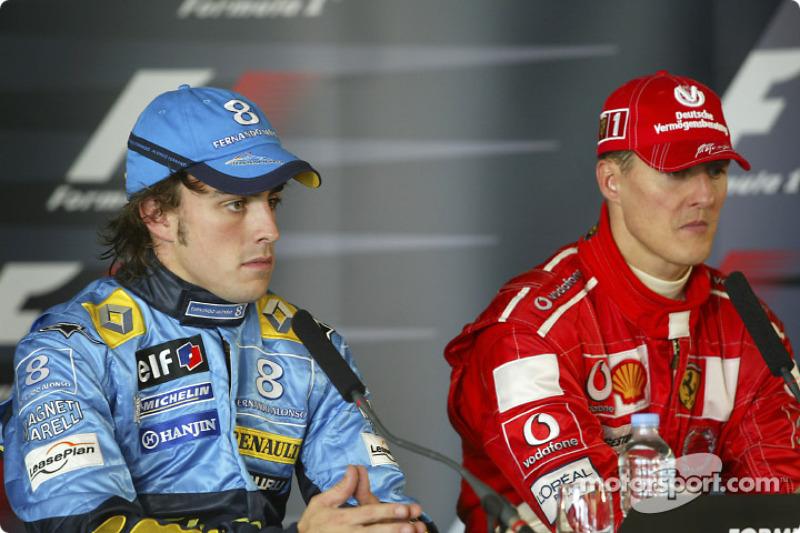 Conferencia de prensa: ganador de la carrera Michael Schumacher y segundo lugar Fernando Alonso
