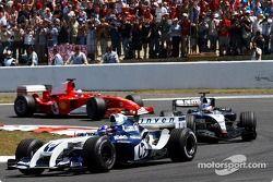 Juan Pablo Montoya, Kimi Raikkonen y Rubens Barrichello