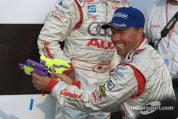 P1 podium: JJ Lehto has fun with water pistol