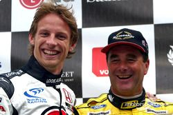 Jenson Button en Nigel Mansell