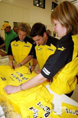 Nick Heidfeld and Timo Glock sign Jordan merchandise