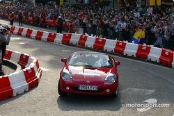 Cristiano da Matta drives the circuit in a Toyota MR2