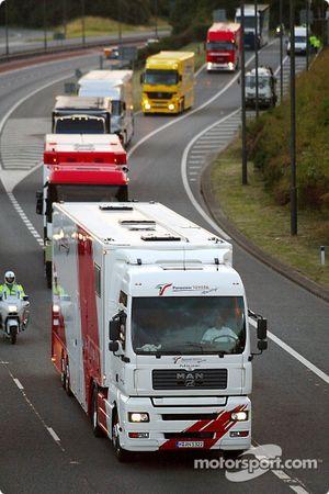 Team transporters en route to Regent Street