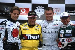 Jenson Button, Nigel Mansell, David Coulthard en Martin Brundle
