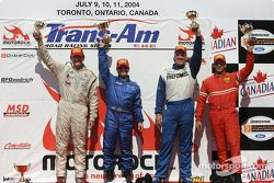 Podium: race winner Jorge Diaz Jr. with Randy Ruhlman, Ron Fellows and GT1 class winner Garrett Kletjian