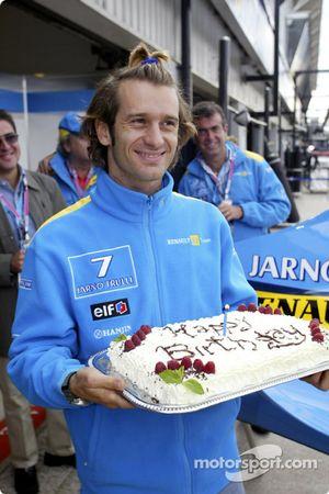 Jarno Trulli celebrates his 30th birthday