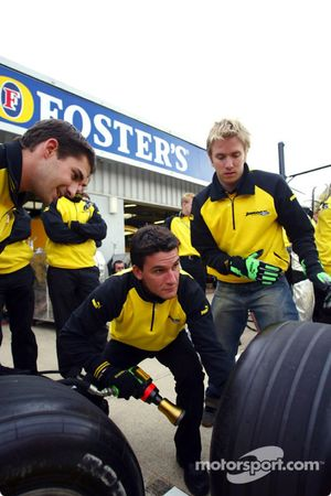 Jordan drivers Timo Glock, Nick Heidfeld and Giorgio Pantano compete against the engineers in a pits