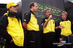 Giorgio Pantano, Eddie Jordan and Nick Heidfeld at Jordan VIP Club
