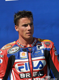 James Toseland on the podium