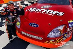 Bobby Hamilton Jr. celebrates pole position