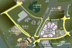 Une carte du circuit dans les rues de Shanghaï