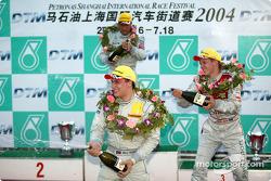Podium: race winner Gary Paffett with Bernd Schneider and Mattias Ekström