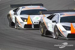 Les Lamborghini Murcielago R-GT n°5 et n°6 du Krohn-Barbour Racing (David Brabham, Peter Kox,Tracy K