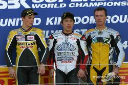 Podium: race winner Noriyuki Haga with Chris Vermeulen and Pierfrancesco Chili