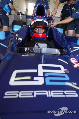 Franck Montagny avant de tester la nouvelle Dallara-Renault de GP2 Series