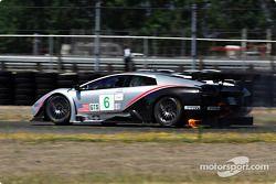 #6 Krohn Barbour Racing Lamborghini Murcielago R-GT: Tracy Krohn, Scott Maxwell catches fire during practice