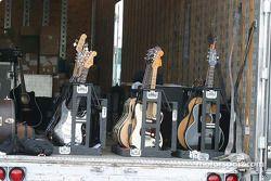 Guitars sit behind pit lane ready for the Martina McBride Concert