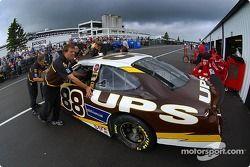 UPS Ford pushed back inside the garage