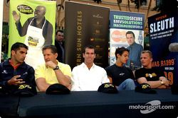 Minardi F1x2 in Johannesburg press conference: Marc Gene, Jody Scheckter, Ralph Firman and Johnny He