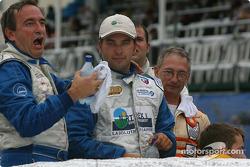 Le vainqueur Marc-Antoine Camiret avec Normet Guindon et Réjean Vincent
