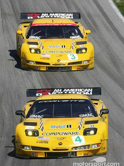 #4 Corvette Racing Corvette C5-R: Oliver Gavin, Olivier Beretta, #3 Corvette Racing Corvette C5-R: Ron Fellows, Johnny O'Connell