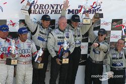 P1 podium: overall winner James Weaver, Butch Leitzinger and team boss Rob Dyson, with JJ Lehto, Mar