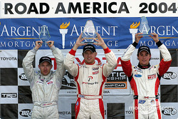 Podium: race winner Ryan Dalziel with Jon Fogarty and Andrew Ranger