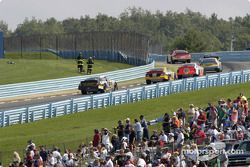 Into turn three and the esses